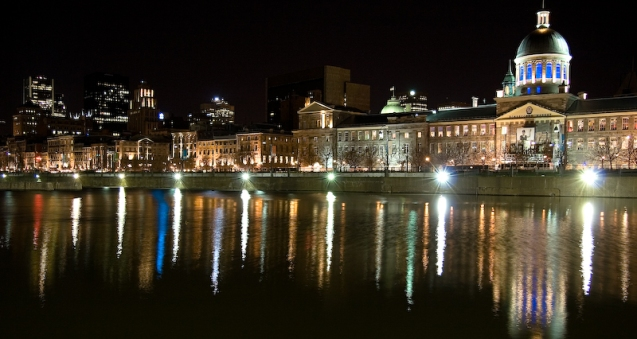 Marche Bonsecours at night, panoramic, Montreal