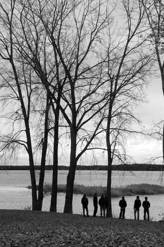 Trees, riverside, men, boys, watching, nature, waterfront, leaves, fall, autumn